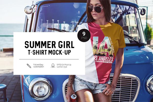 Summer Girl T-Shirt Mock-Up