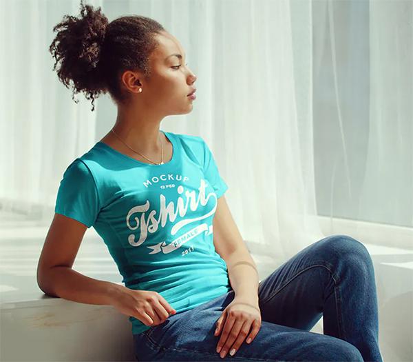 Cool Female T-Shirt Mock-Up
