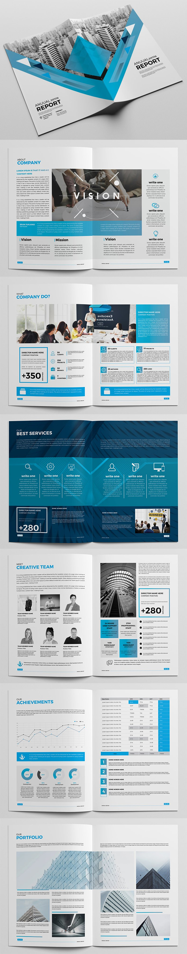 Simple Clean Annual Report Brochure Template