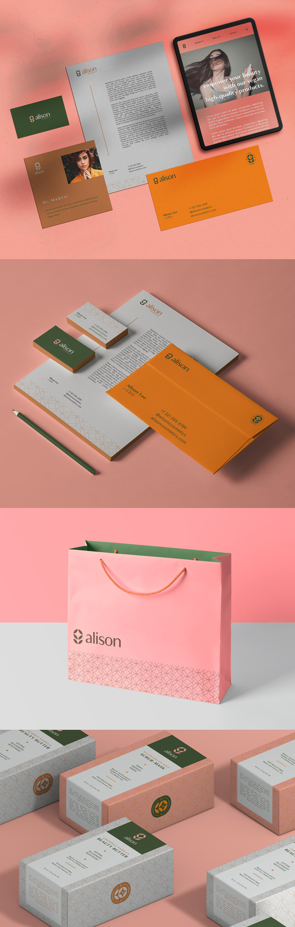 Stationery - Alison Cosmetics Branding Identity by Joao Matheus de Barros