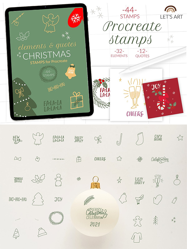 Creative Christmas procreate Stamps