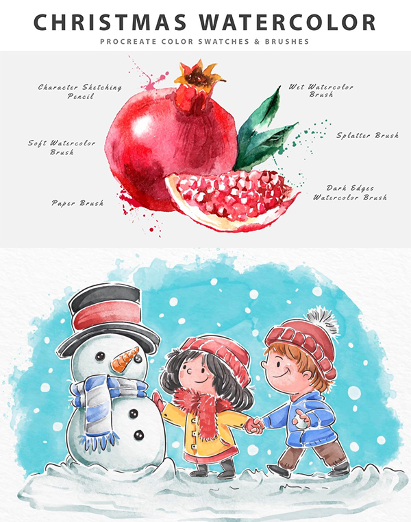 Christmas Watercolor Procreate Brushes