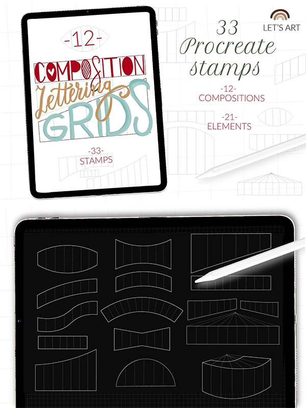 Lettering Grid Procreate Stamps