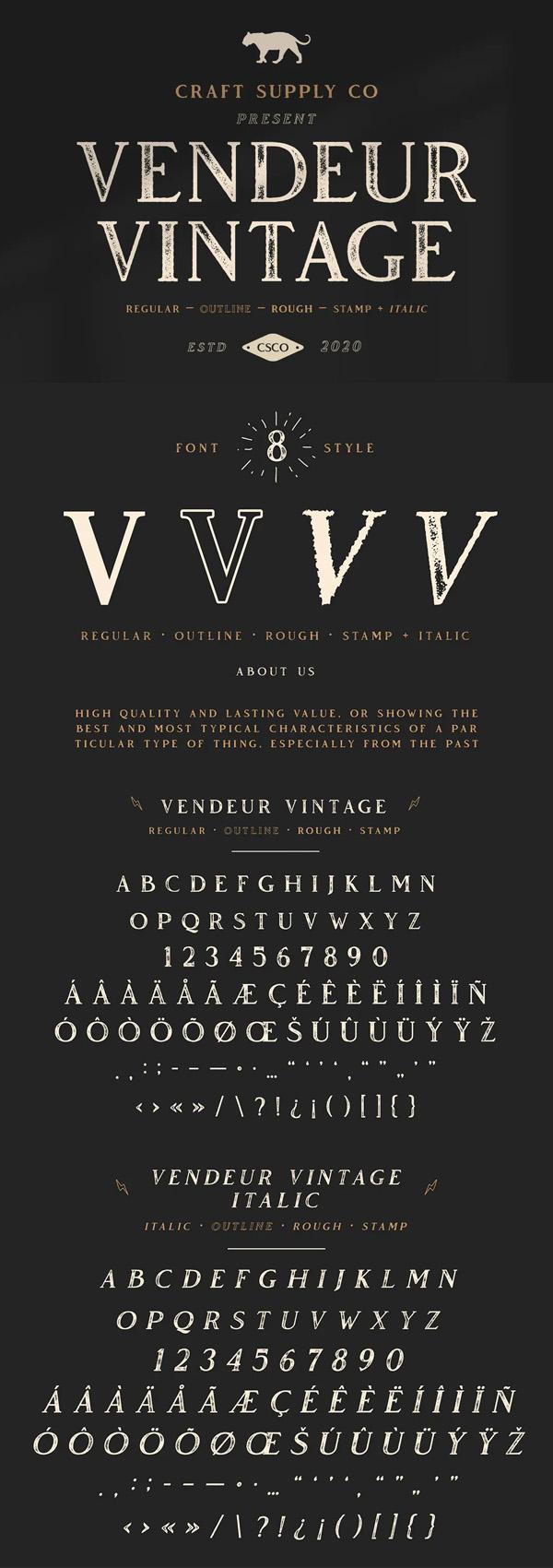Vendeur Vintage Font Family | 8 Fonts