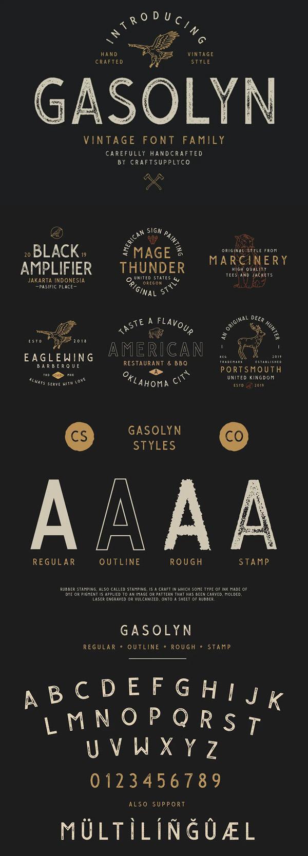 Gasolyn - Vintage Font Family
