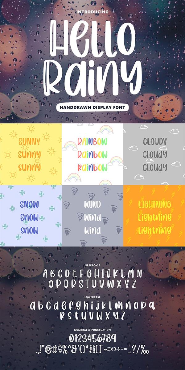 Hello Rainy - Quirky Handdrawn Font
