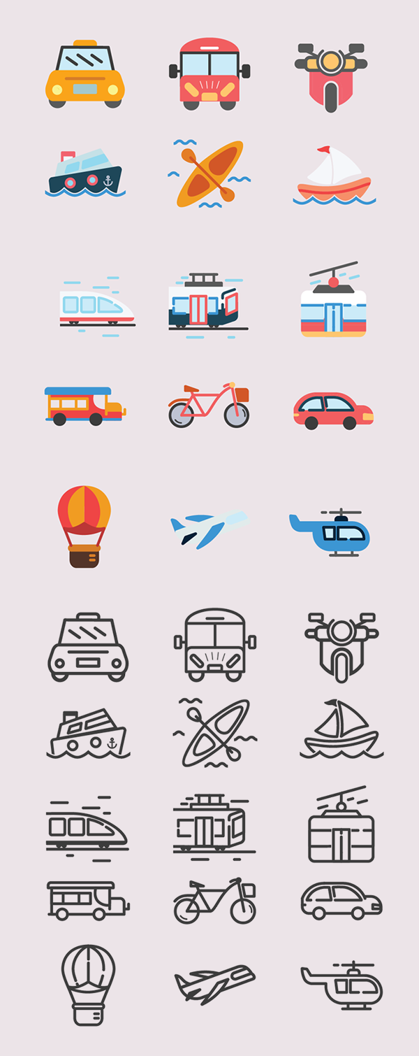 Free Transportation Icons - (15 Line and Solid Icons)