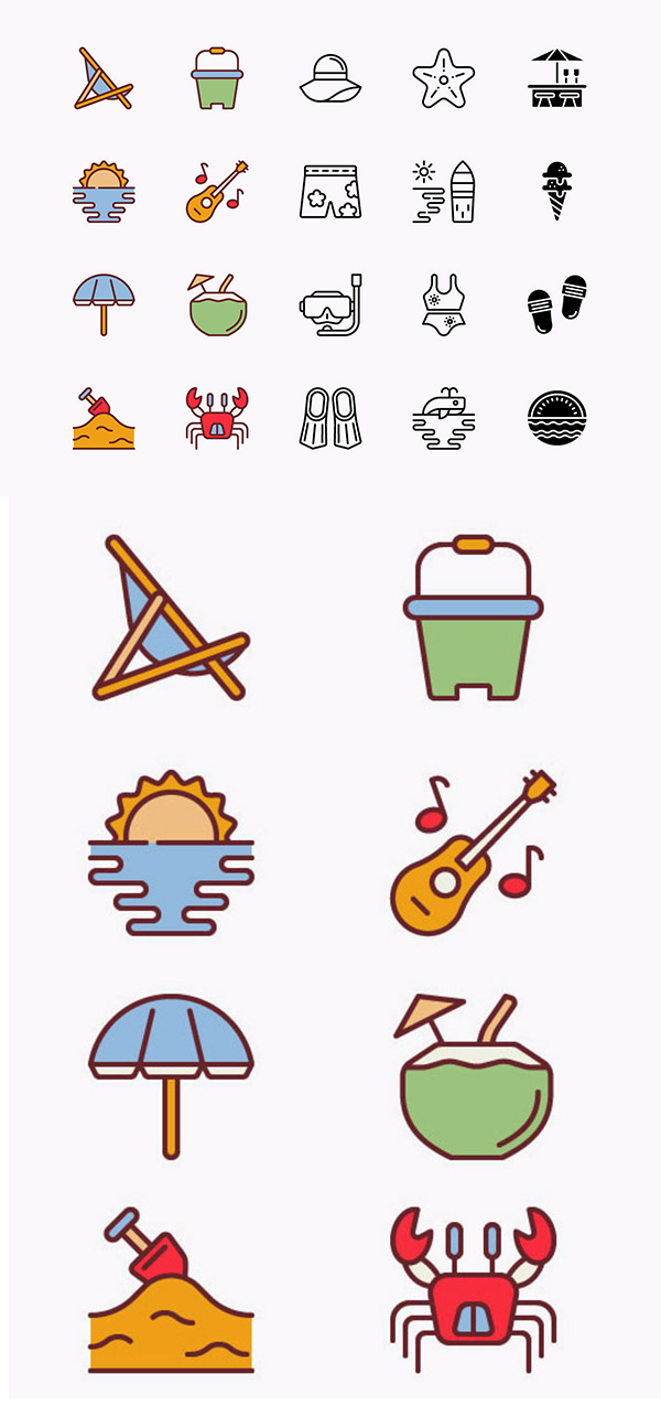 Free Vector Beach Icons Pack - 20 Icons