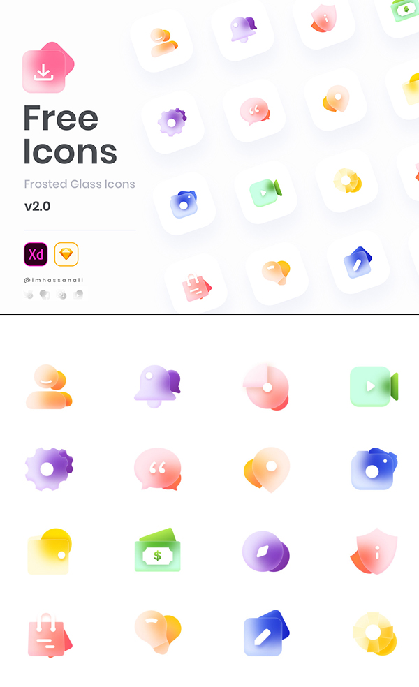 Free Glass Icons Set for Sketch and XD -16 Icons