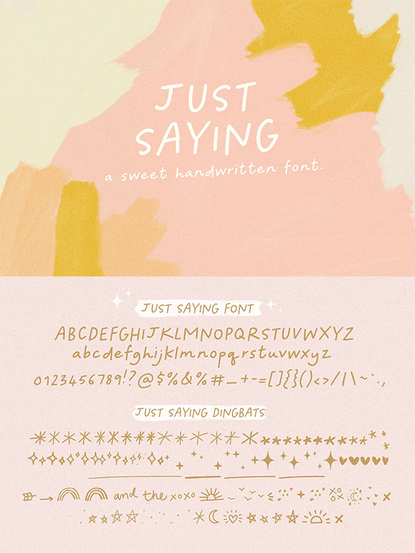 Just Saying Handwritten Font
