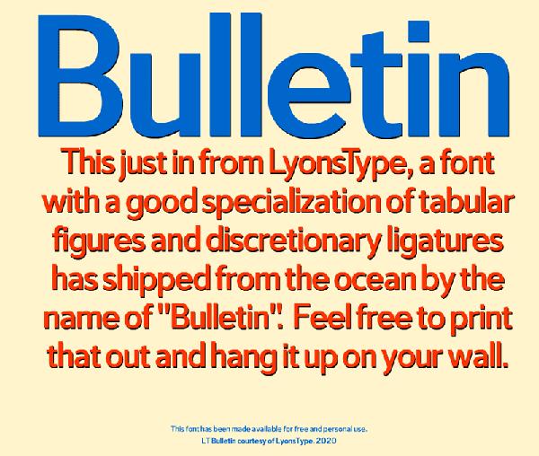 LT Bulletin Free Font
