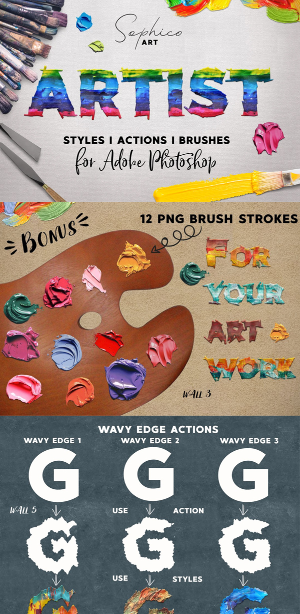 Artist Styles Actions Brushes Set