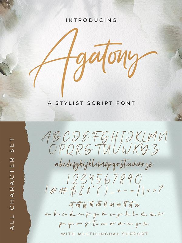Agatony Handwritten Font