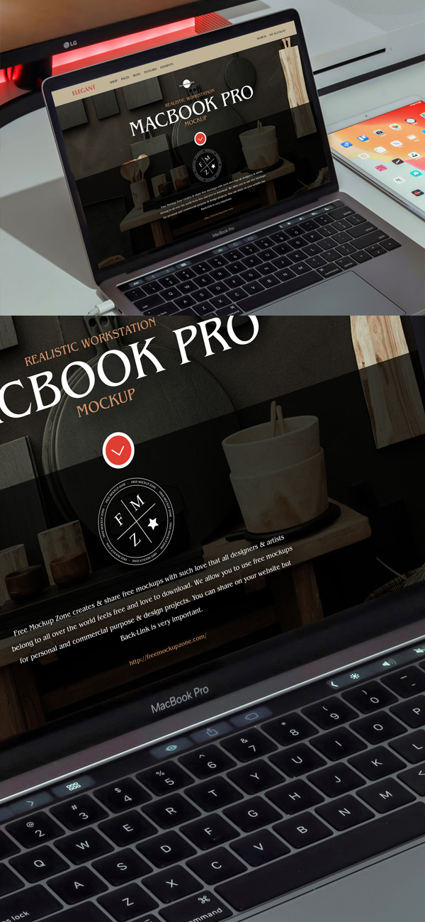 Free Realistic Workstation MacBook Pro Mockup