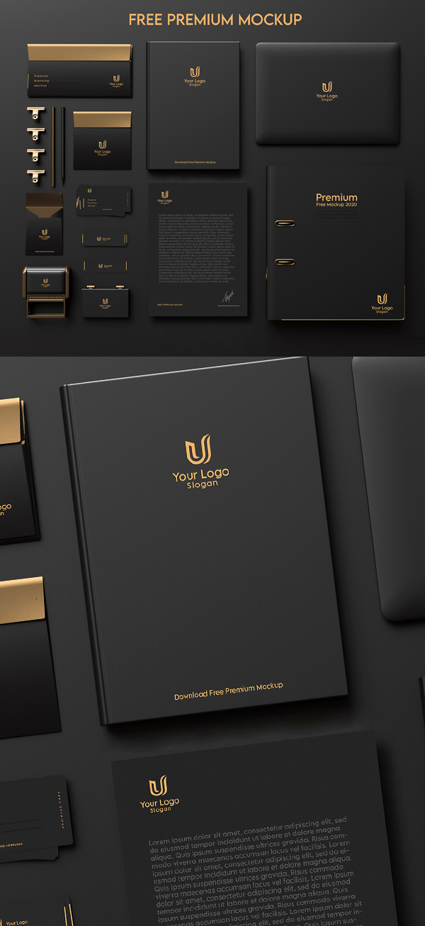 Free Dark & Gold Stationery / Branding Mockup