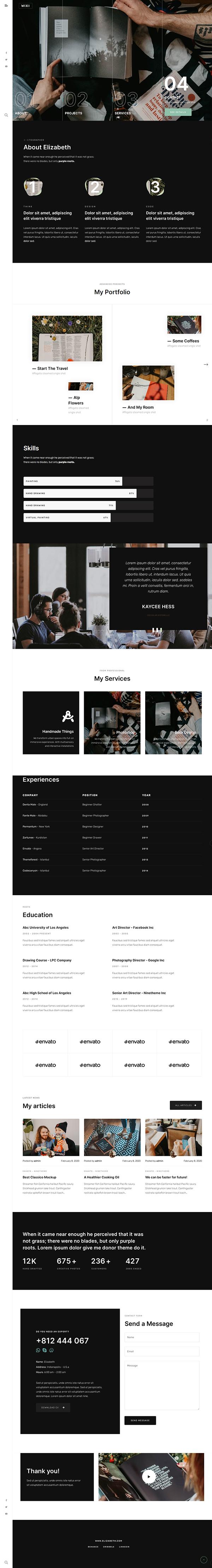 Wixi - Elementor Portfolio WordPress Theme