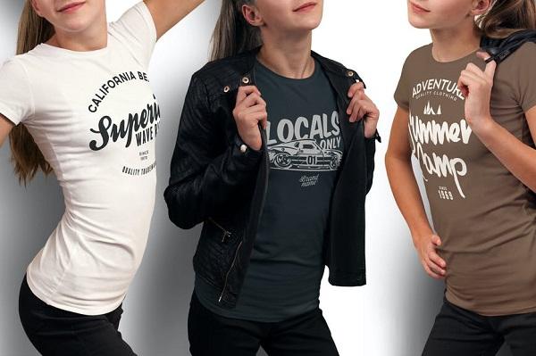 Crew Neck T-shirt Mock-up Female Version Font