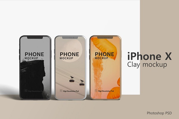 iPhone X Clay Mockup Font