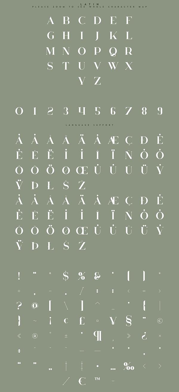 Huova Serif Font Letters