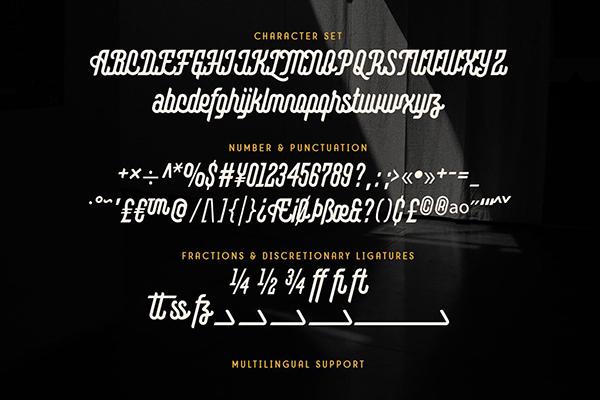 Montagna Monoline Font Letters
