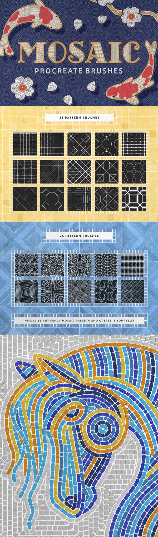 Mosaic Tile Procreate Brushes