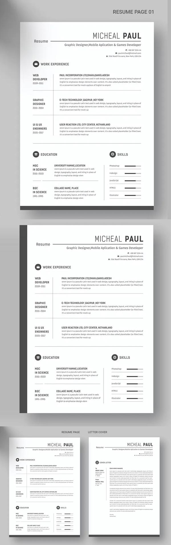 Pro Resume Template Font