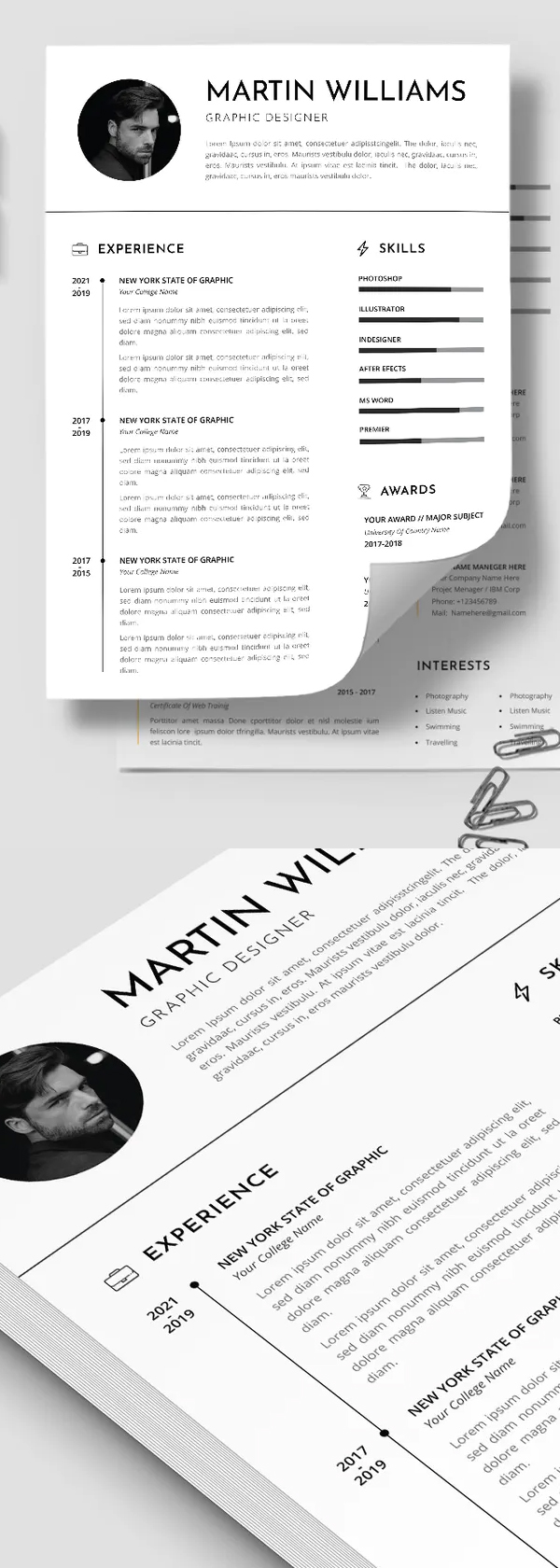 Professional CV Resume Template Font