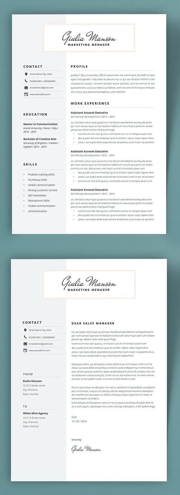 Simple Clean Resume / CV Template Font