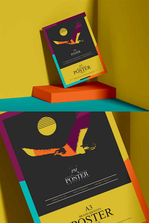 Brand Identity A3 Paper Poster Mockup Free