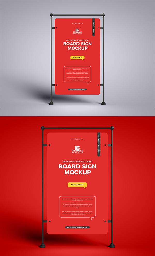 Free Pavement Advertising Board Sign Mockup