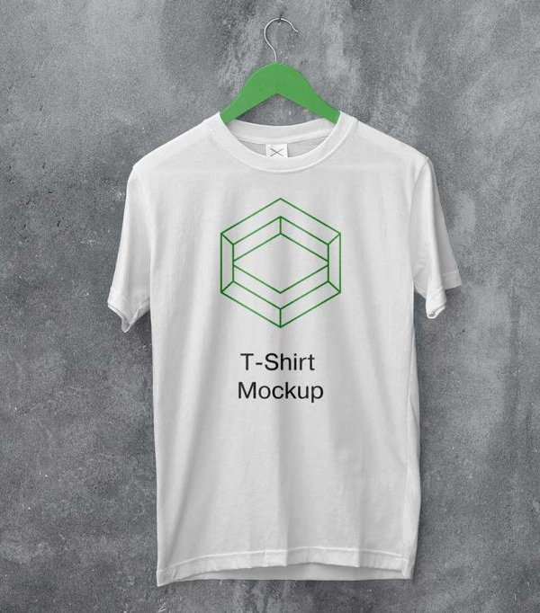 Free White Hanging T-Shirt Mockup PSD