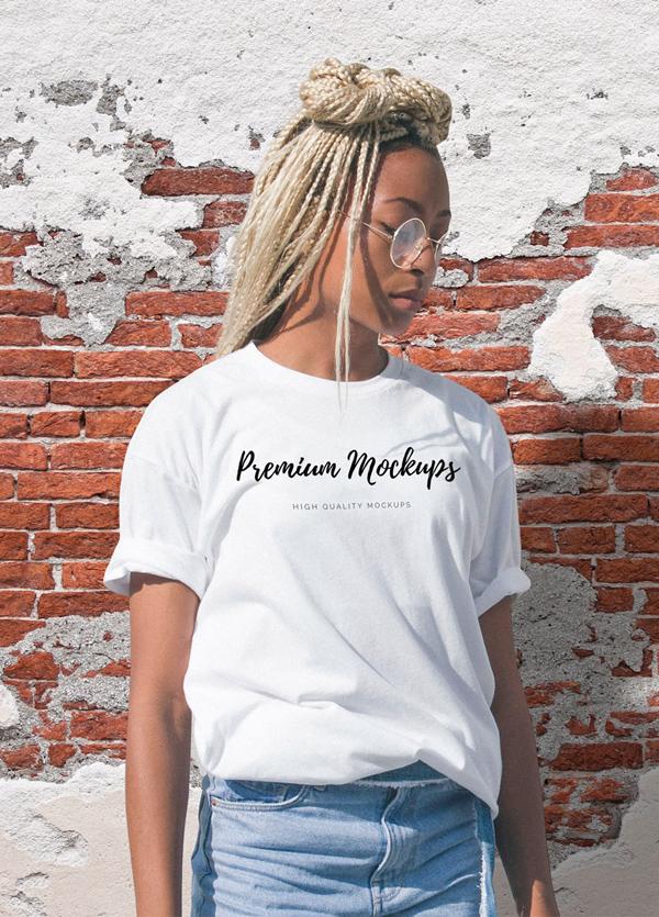 Free Female T-shirt Mockup