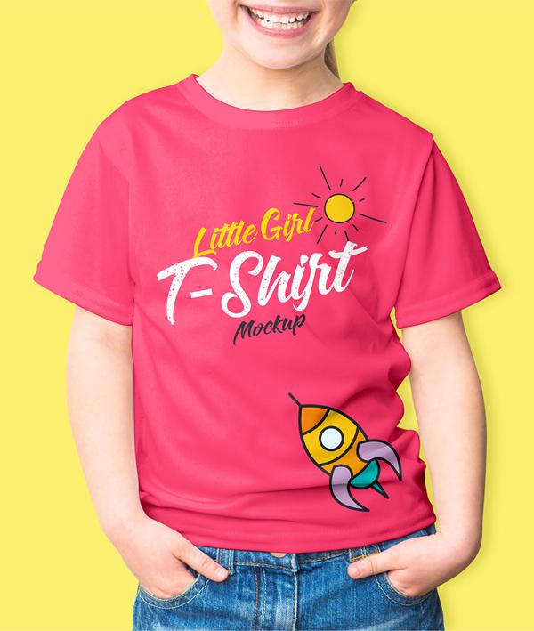 Free Little Girl T-Shirt Mockup PSD
