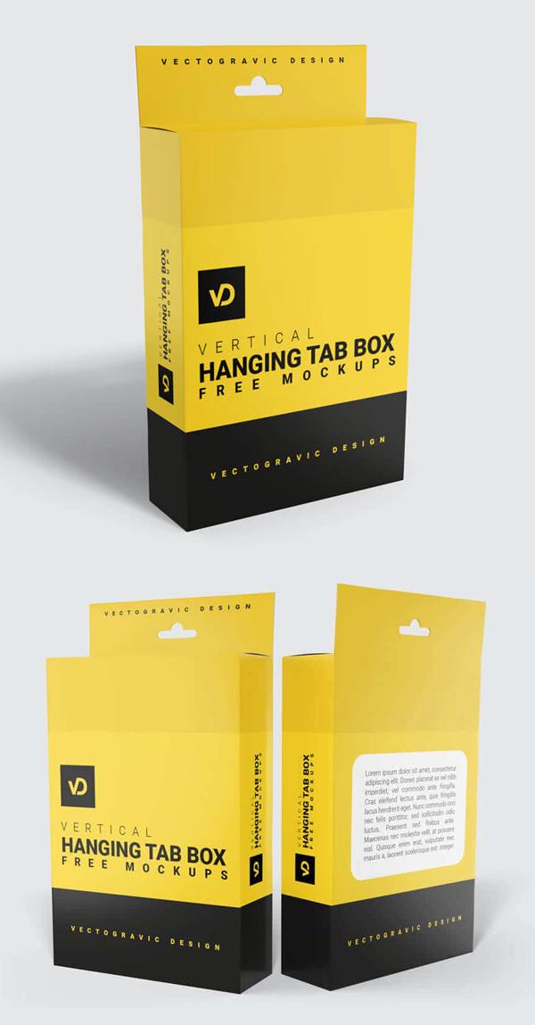 Hanging Tab Box Mockup