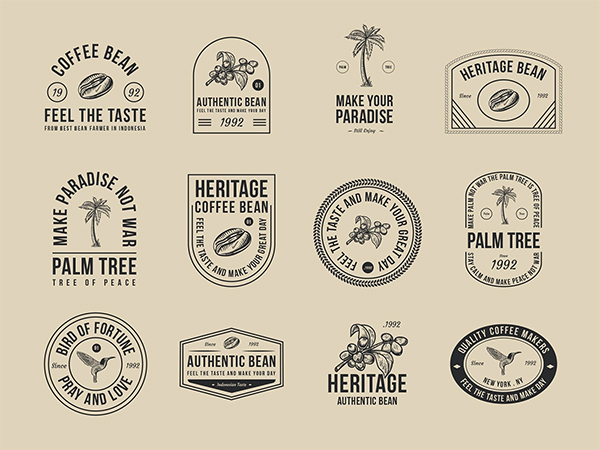 Coffee and Palm Tree Badges