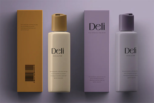 Cosmetics Bottle Paper Box Mockup