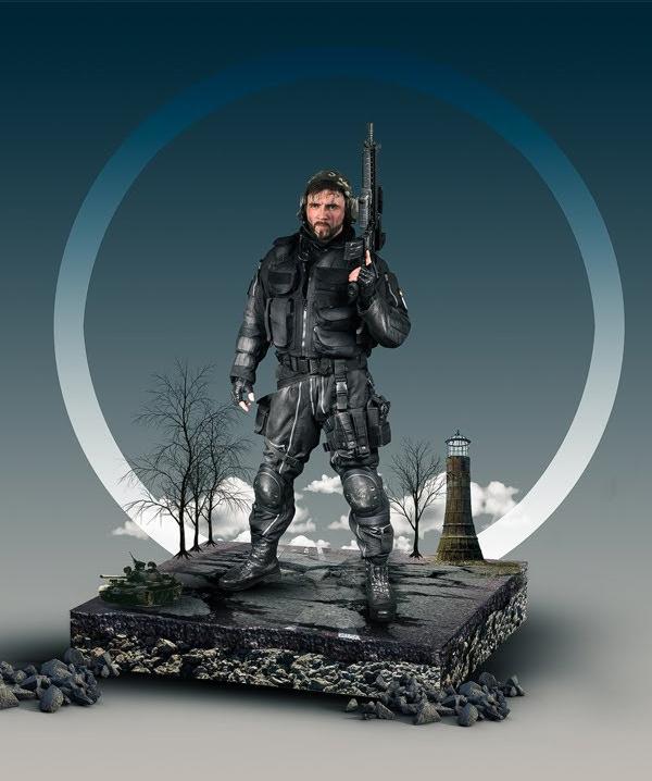 How to Create 3D Soldier Digital Art Photoshop Manipulation Tutorial