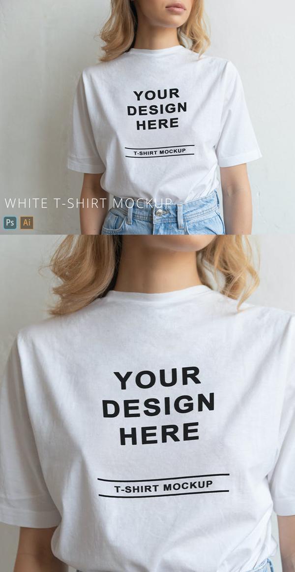 White T-Shirt on Person Mockup Close Up Minimal