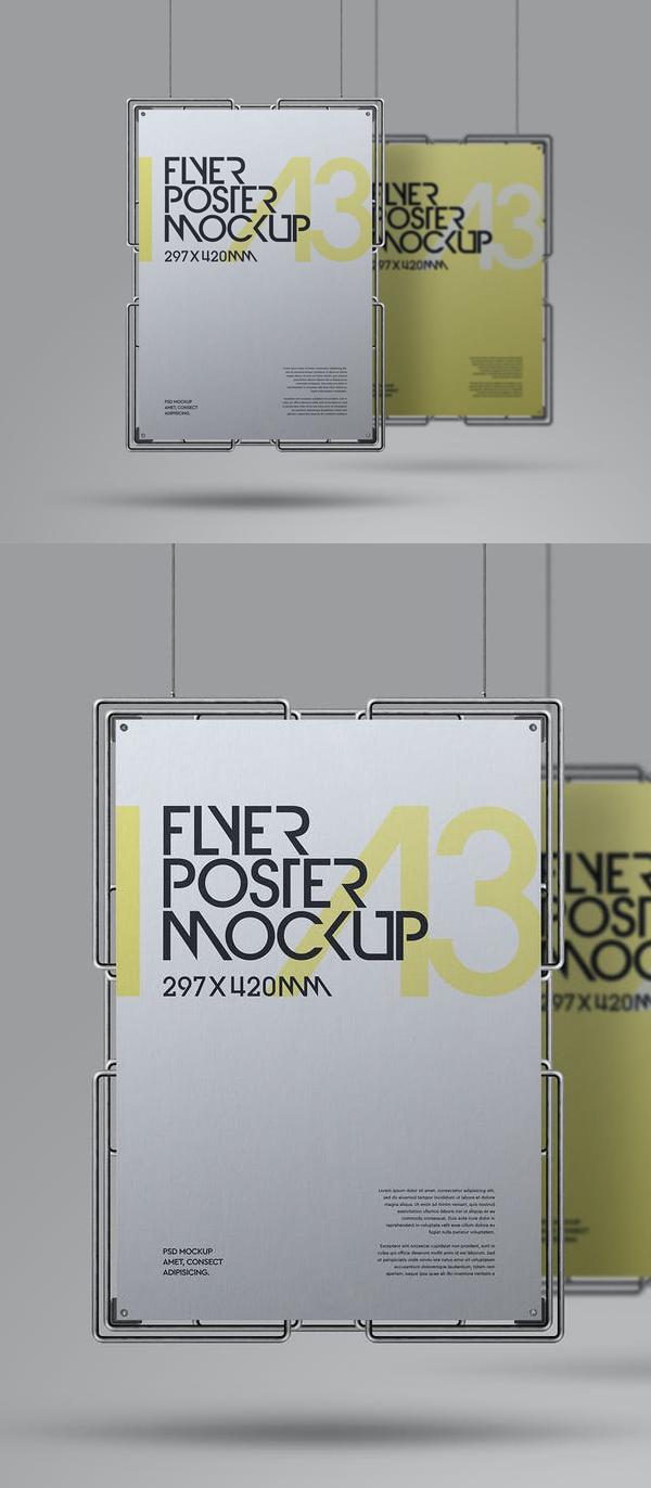 Hanging Mockup A3 Poster Metal Frame Set