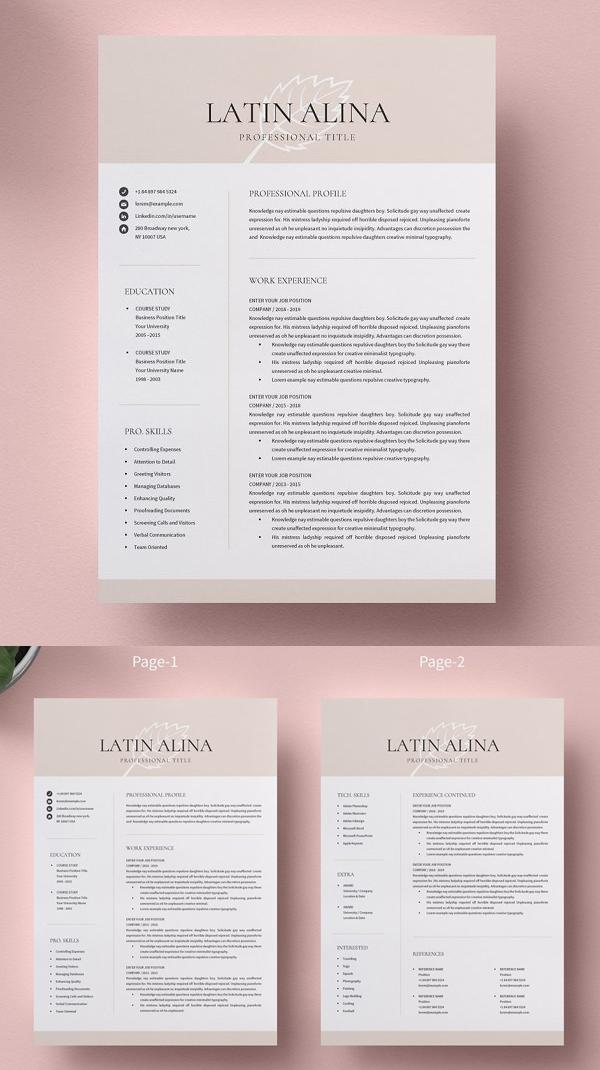 Clean Minimal Resume Template Word
