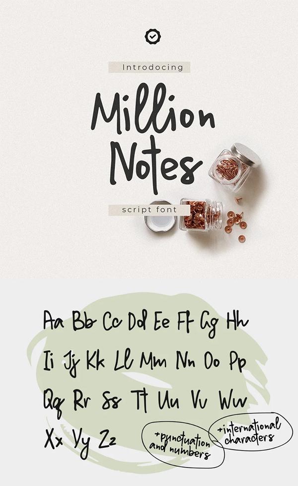 Million Notes Handwritten Script Font