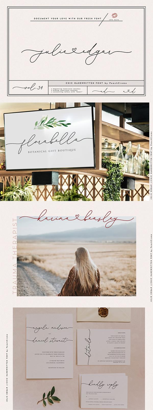 Julie Edgar Handwriting Font