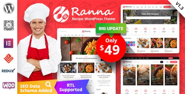 Ranna - Food & Recipe WordPress Theme + RTL